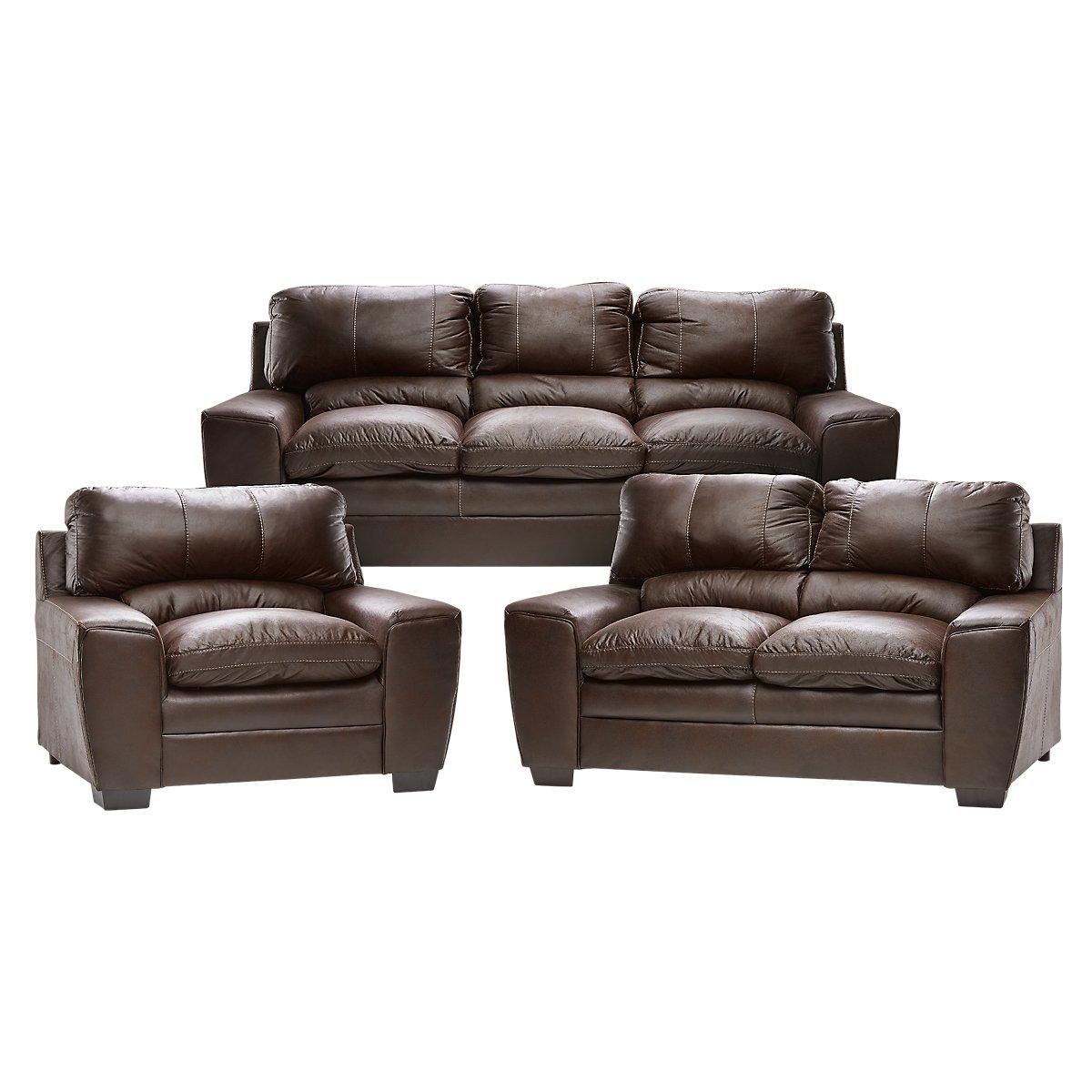 Verona Dark Brown Microfiber Living Room Sets City Furniture