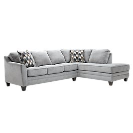 Charlie Light Gray Fabric Right Per Sectional