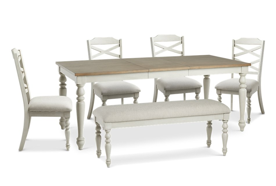 Sensational Lexington Two Tone Rect Table 4 Chairs Bench Dining Bralicious Painted Fabric Chair Ideas Braliciousco