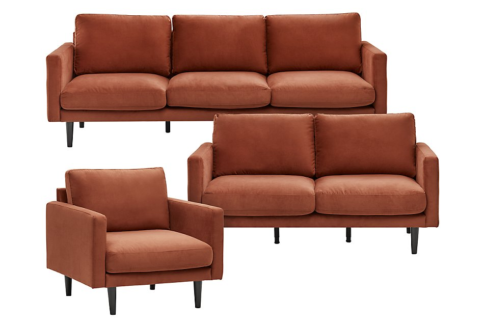 Montecito Orange Fabric Living Room | Living Room - Living ...