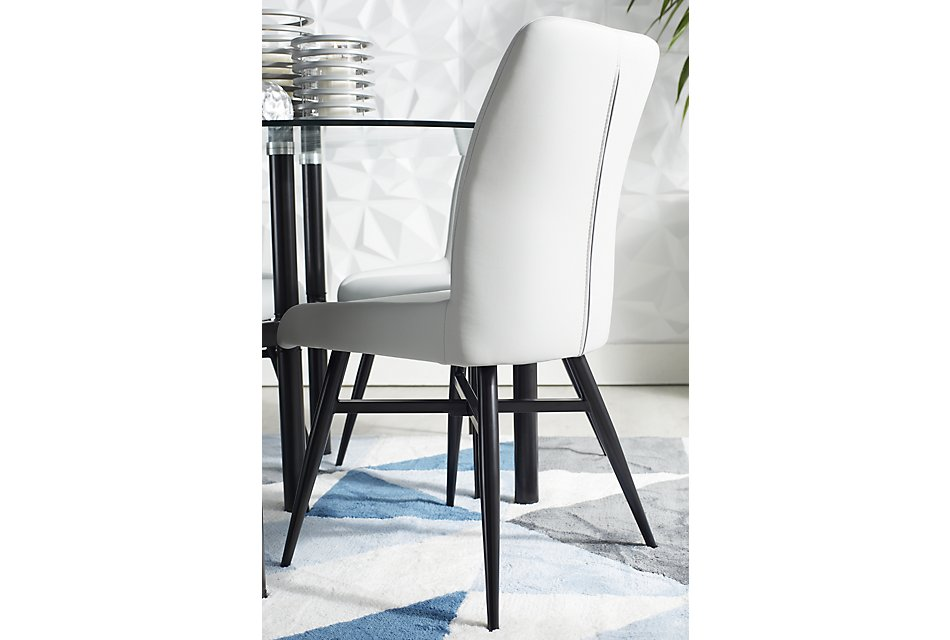 Fabulous Lemans Gray Glass Table 4 Upholstered Chairs Dining Room Pdpeps Interior Chair Design Pdpepsorg