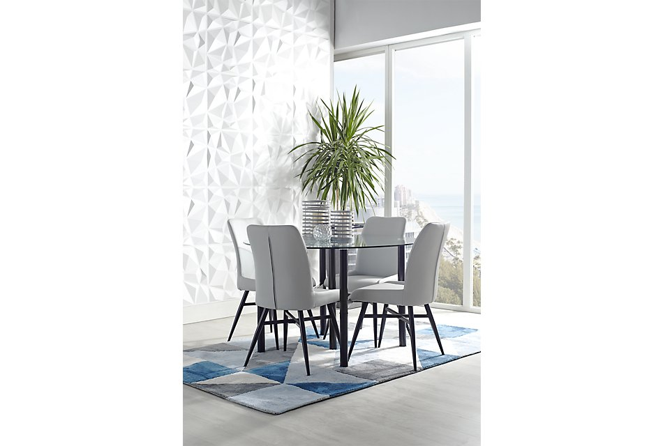 Pleasing Lemans Gray Glass Table 4 Upholstered Chairs Dining Room Pdpeps Interior Chair Design Pdpepsorg