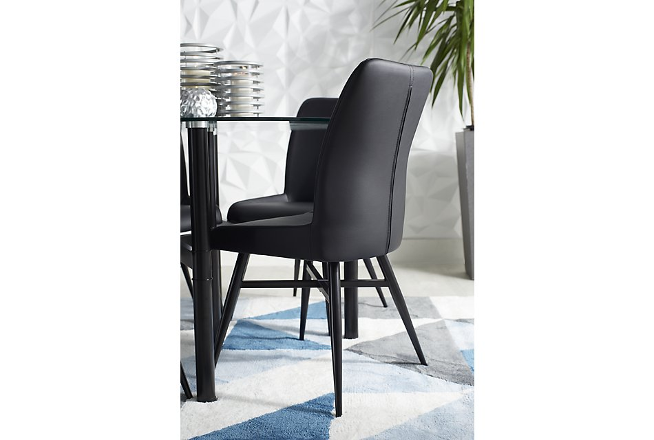 Admirable Lemans Black Glass Table 4 Upholstered Chairs Dining Pdpeps Interior Chair Design Pdpepsorg