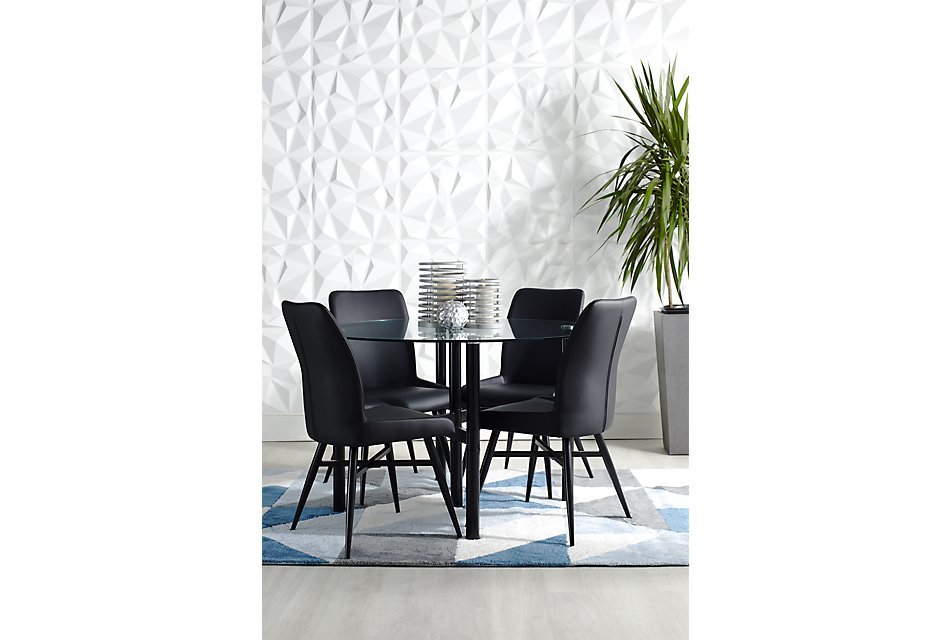 Fantastic Lemans Black Glass Table 4 Upholstered Chairs Dining Pdpeps Interior Chair Design Pdpepsorg