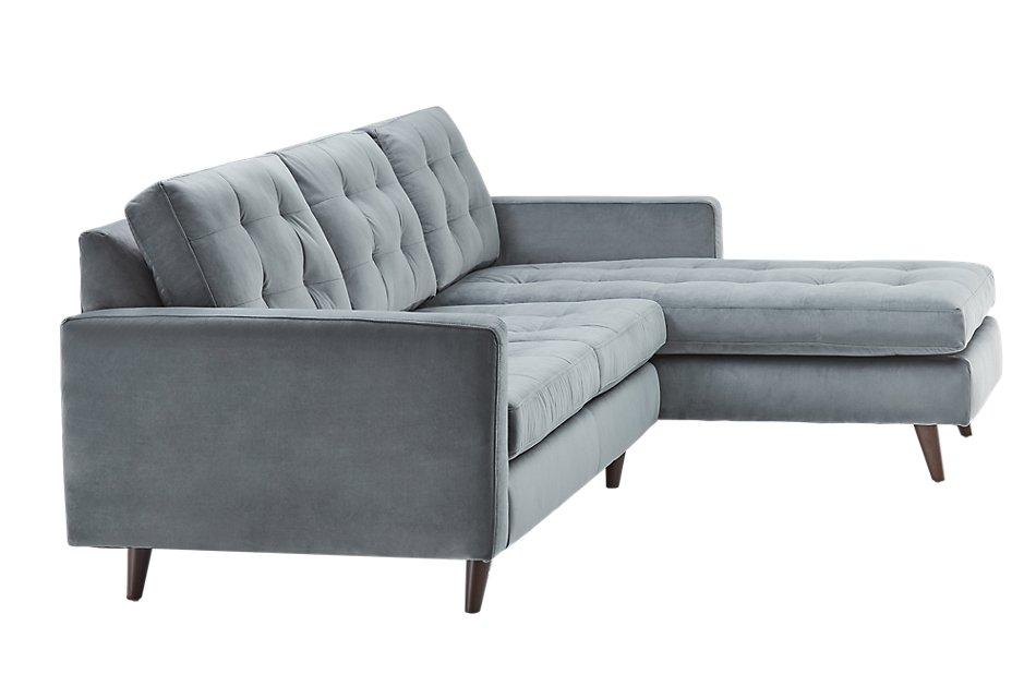 Mila GRAY VELVET Right Chaise Sectional