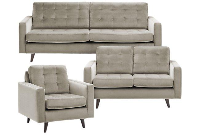 Mila Beige Velvet Living Room | Living Room - Living Room ...
