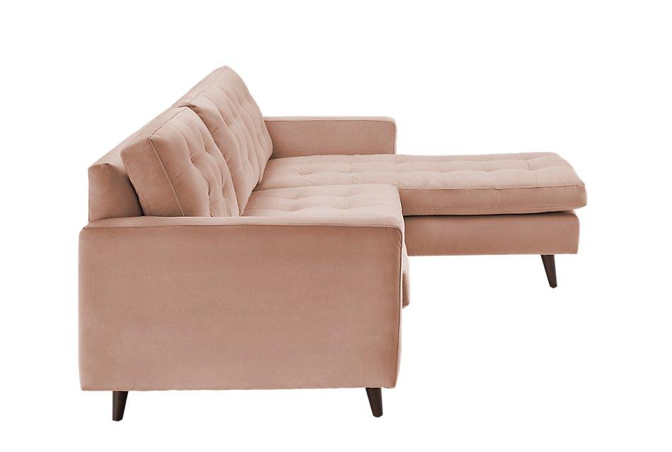 Mila Light Pink  VELVET Right Chaise Sectional