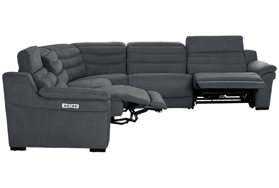 Sentinel Dark Gray  MICRO Small Two-Arm Power Reclining Sectional