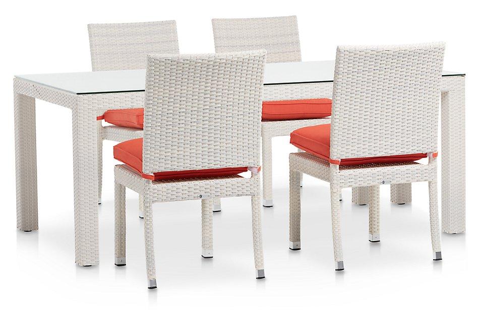 "Bahia ORANGE 72"" Rectangular Table & 4 Upholstered Chairs"
