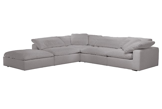 Nixon Light Gray Fabric 5pc Bumper Sectional