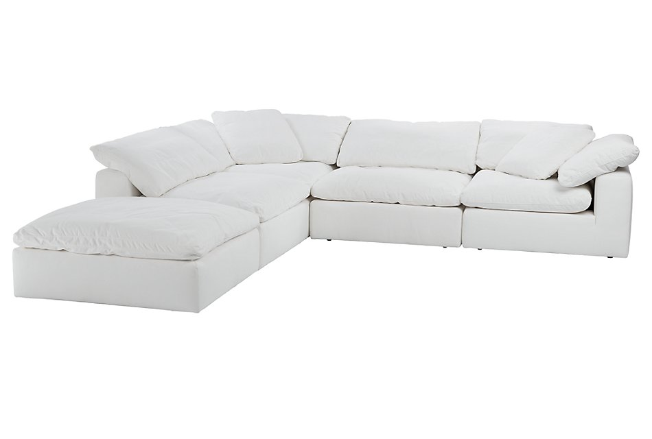 Nixon White Fabric Sectional   Living Room - Sectionals ...