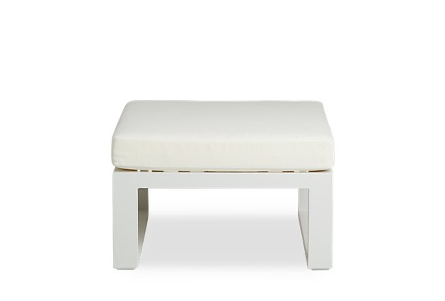 Lisbon White Aluminum Ottoman