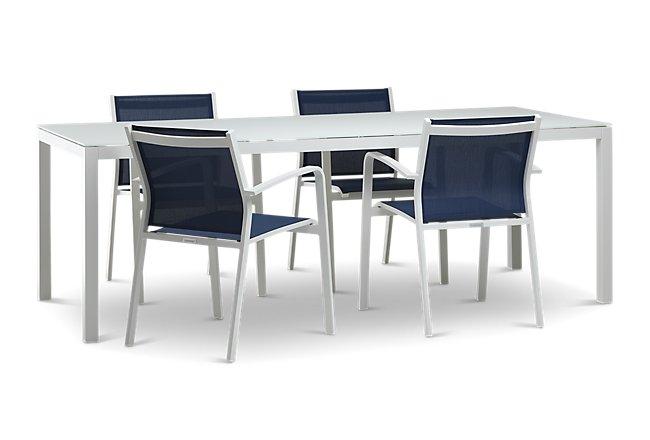 "Lisbon Navy 86"" Rectangular Table & 4 Sling Chairs"