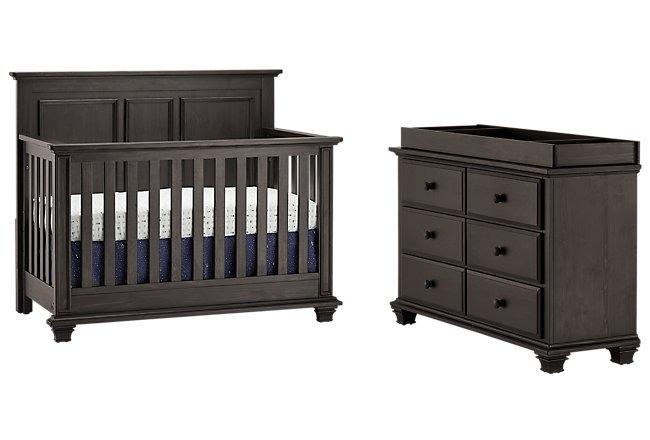 Kenilworth Dark Tone Wood Crib Bedroom