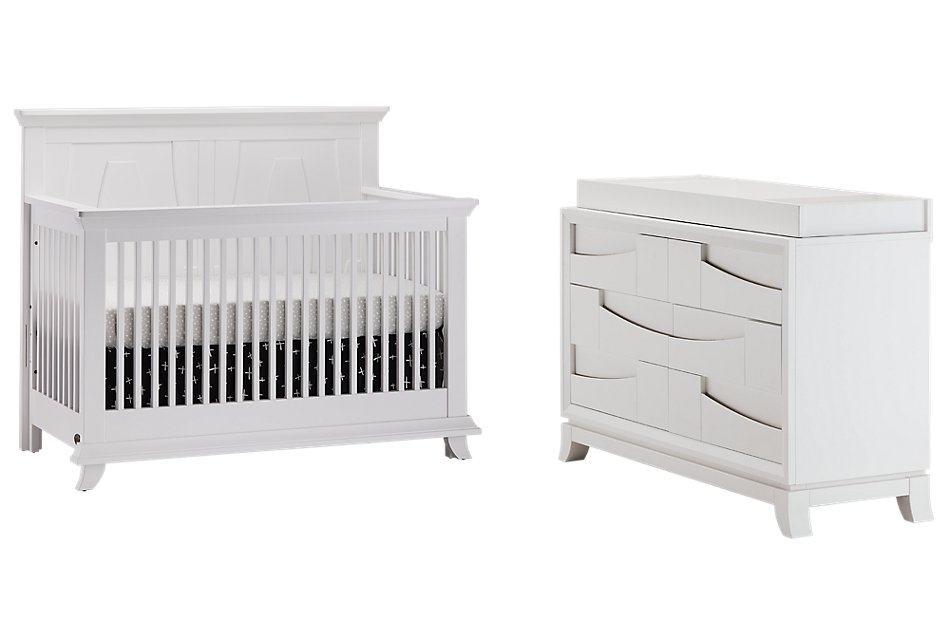 Imperial White Small Crib Bedroom