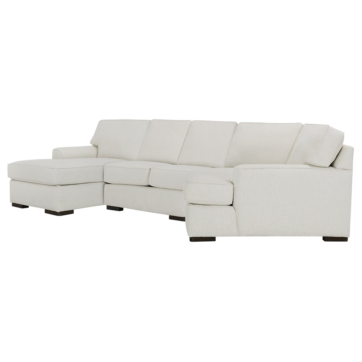 Austin White Fabric Left Facing Chaise Cuddler Sectional ...