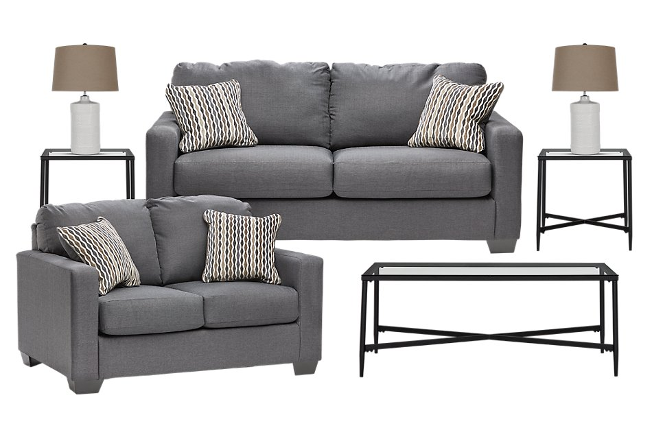 Bavello Dark Gray  MICRO 7-Piece Living Room Package