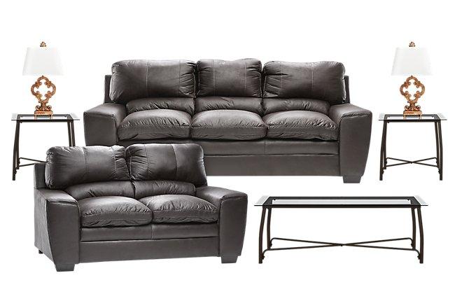 Verona Dark Gray Micro 7-Piece Living Room Package