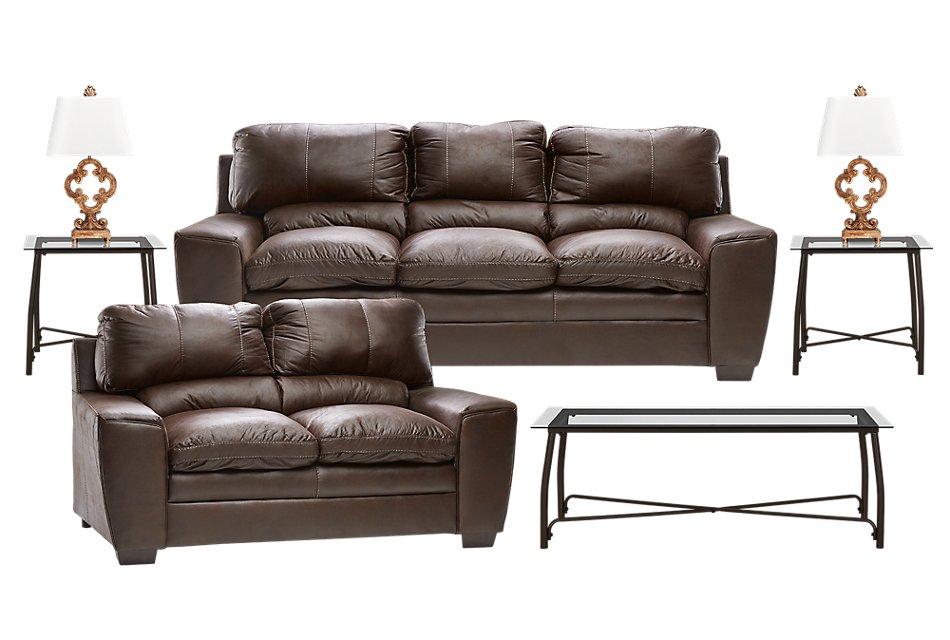 Verona Dark Brown  MICRO 7-Piece Living Room Package