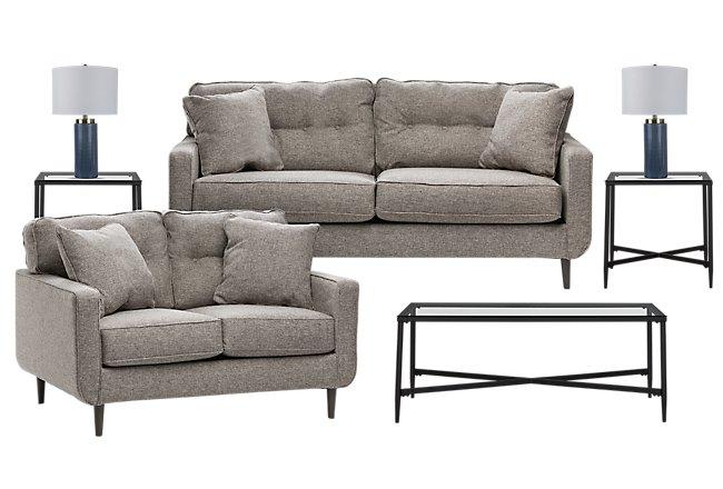 Dahra Dark Taupe Micro 7-Piece Living Room Package