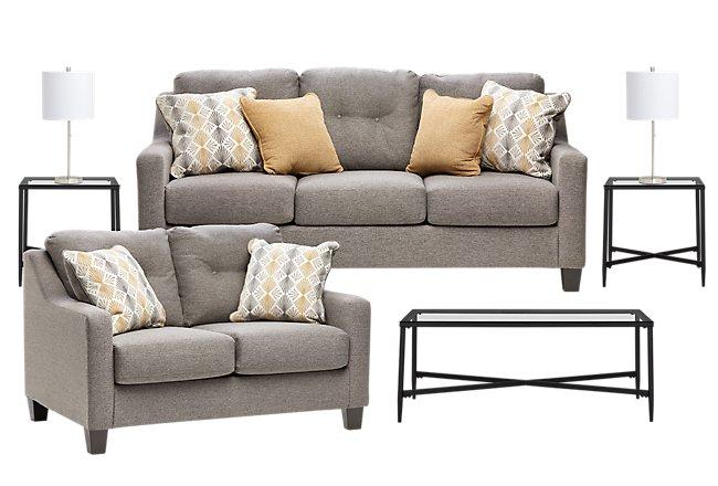 Daylon Light Gray Micro 7-Piece Living Room Package