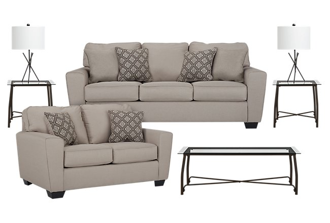 Calicho Light Taupe Micro 7-Piece Living Room Package