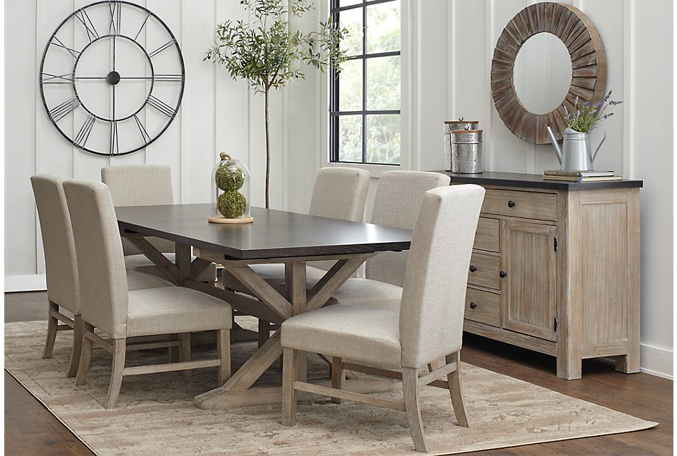 Jefferson Two-Tone Table & 4 Upholstered Chairs | Dining ...