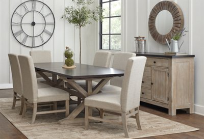 Beau Jefferson Two Tone Rectangular Table U0026 4 Upholstered Chairs | Dining Room   Dining  Sets | City Furniture