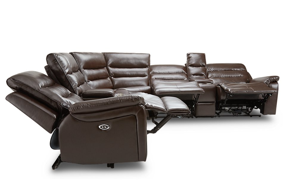 Geneva Dark Brown  MICRO Large 2-Arm Triple Reclining Sectional