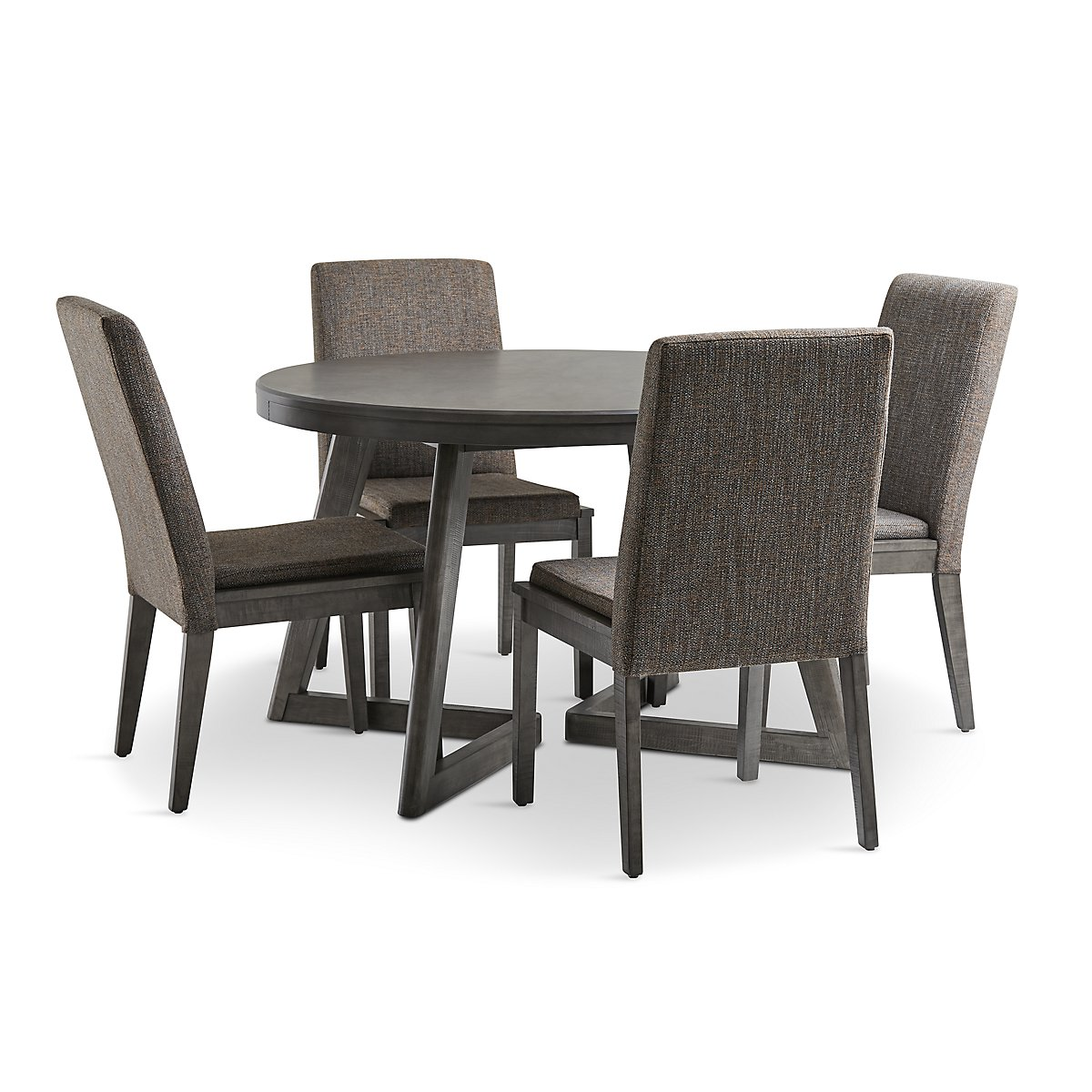 Bayberry Dark Tone Round Table 4 Chairs: Cross Dark Tone Wood Round Table & 4 Upholstered Chairs
