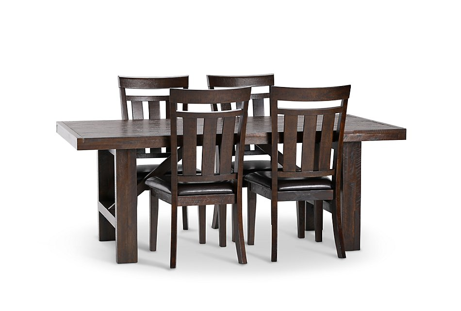 Sensational Kona Grove Dark Tone Rect Table 4 Wood Chairs Dining Gmtry Best Dining Table And Chair Ideas Images Gmtryco