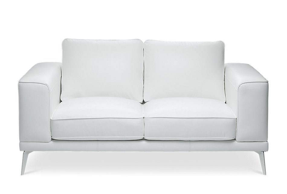 Enjoyable Naples White Leather Loveseat With Metal Legs Living Room Gmtry Best Dining Table And Chair Ideas Images Gmtryco