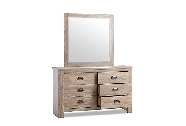 Shelton Light Tone Wood Dresser & Mirror