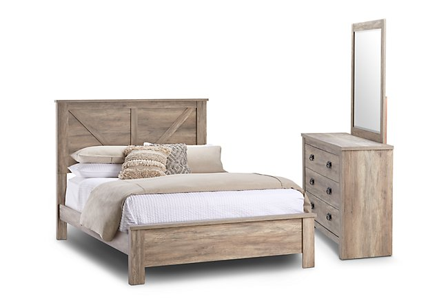 Shelton Light Tone Wood Panel Bedroom