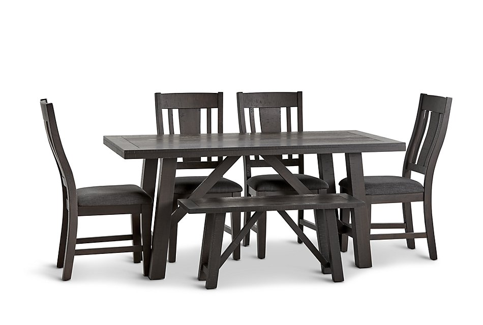 Phenomenal Cash Gray Rect Table 4 Chairs Bench Dining Room Bralicious Painted Fabric Chair Ideas Braliciousco