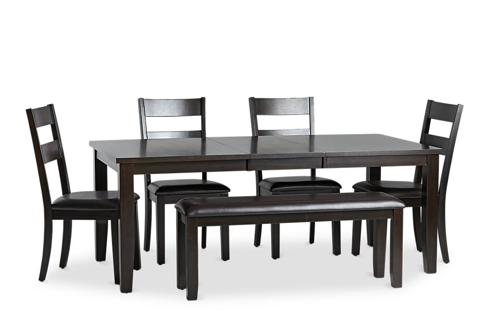 Tremendous Navarro Dark Tone Rect Table 4 Chairs Bench Dining Room Bralicious Painted Fabric Chair Ideas Braliciousco