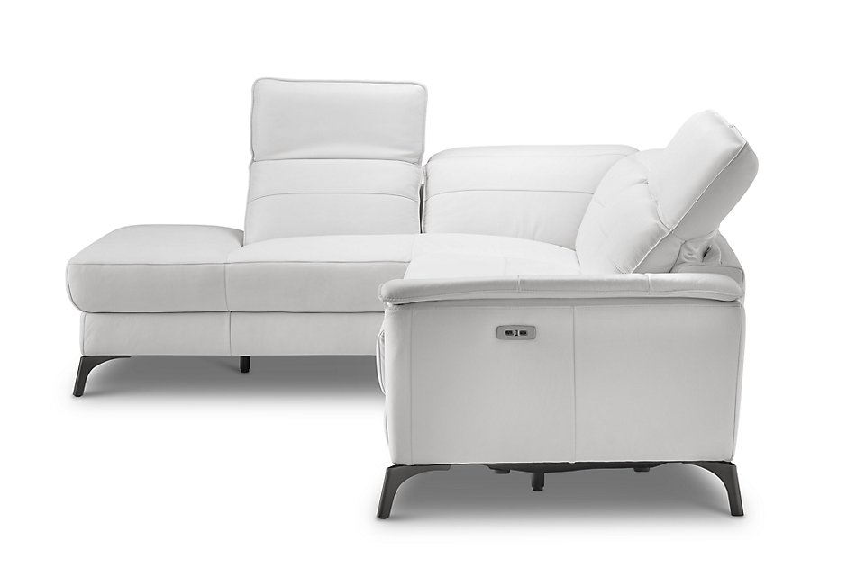 Pearson WHITE LEATHER Left Bumper Power Reclining Sectional