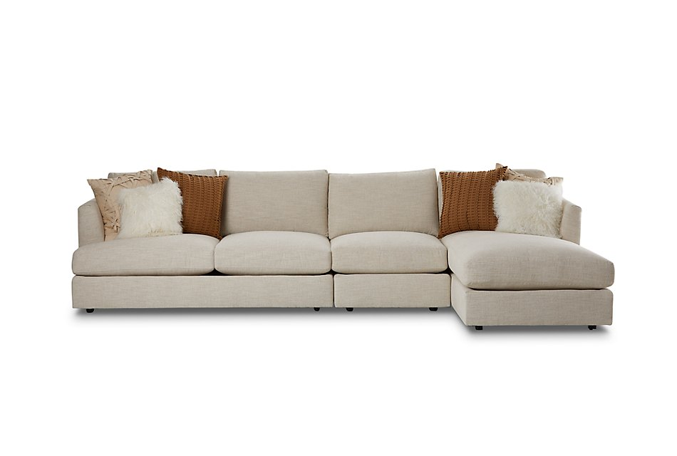 Sydney Light Beige  FABRIC Small Right Chaise Sectional