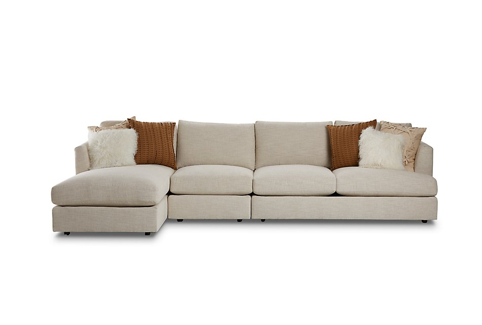 Sydney Light Beige  FABRIC Small Left Chaise Sectional