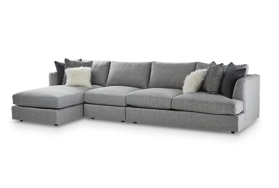 Swell Sydney Gray Fabric Small Left Chaise Sectional Sale Machost Co Dining Chair Design Ideas Machostcouk