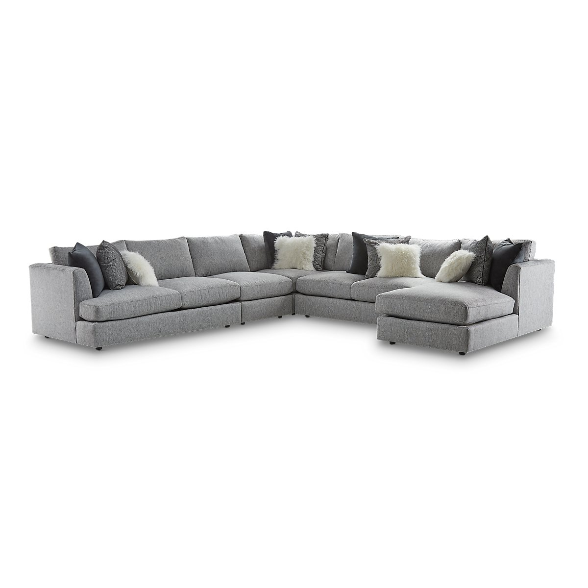 Sydney Gray Fabric Large Right Chaise Sectional Living Room Sectionals City Furniture
