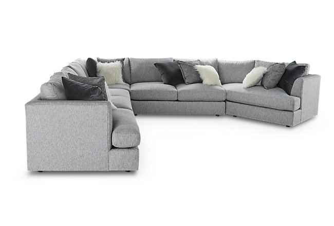 Sydney Gray Fabric Large Right Cuddler Sectional