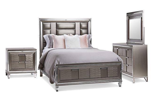 Vegas Gray Wood Platform Storage Bedroom
