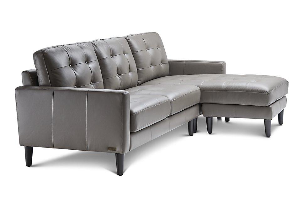 Finley Dark Gray  LTHR/VINYL Reversible Chaise Sectional