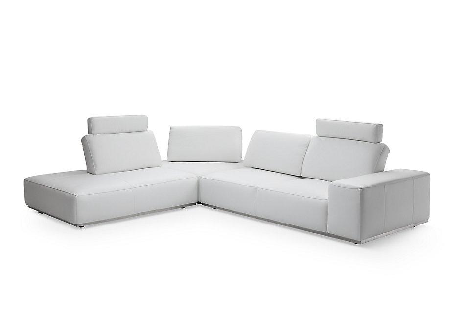 Awe Inspiring Landon White Leather Left Bumper Sectional W Headrest Cjindustries Chair Design For Home Cjindustriesco