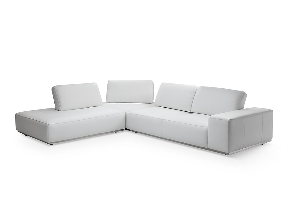 Super Landon White Leather Left Bumper Sectional Living Room Machost Co Dining Chair Design Ideas Machostcouk