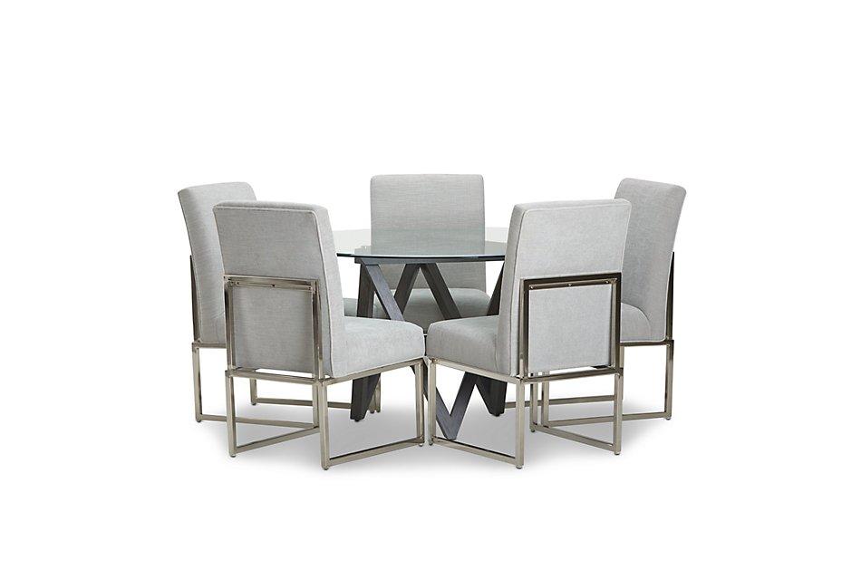 Tribeca DARK TONE GLASS Round Table & 4 Metal Chairs