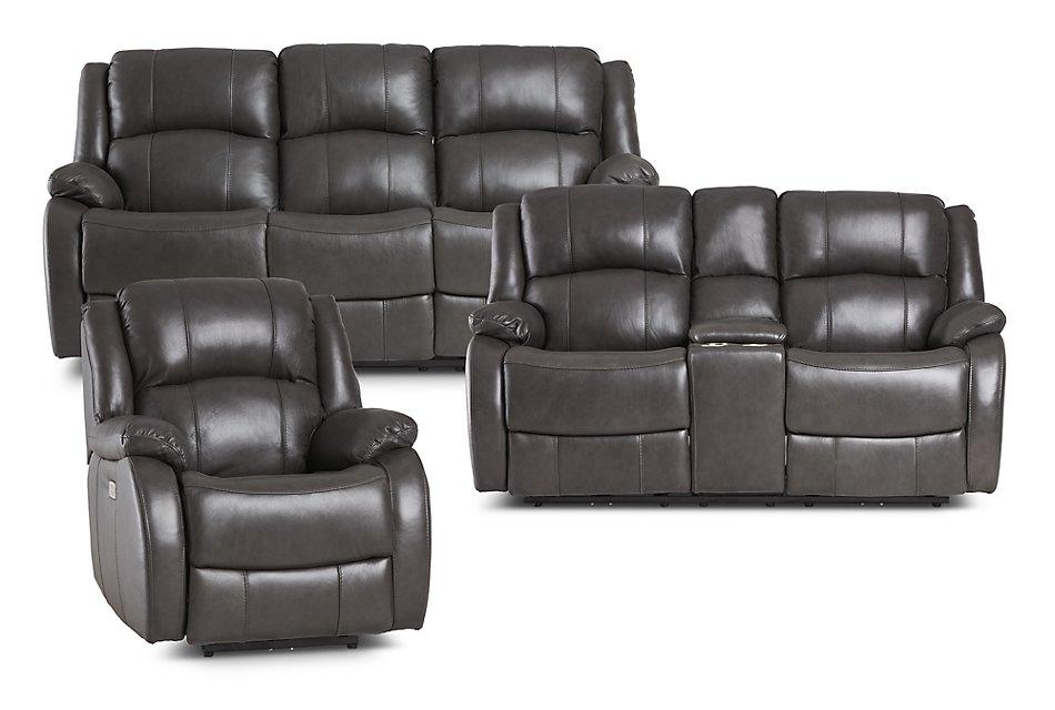 Pleasant Dalton Dark Gray Lthr Vinyl Power Reclining Living Room Customarchery Wood Chair Design Ideas Customarcherynet