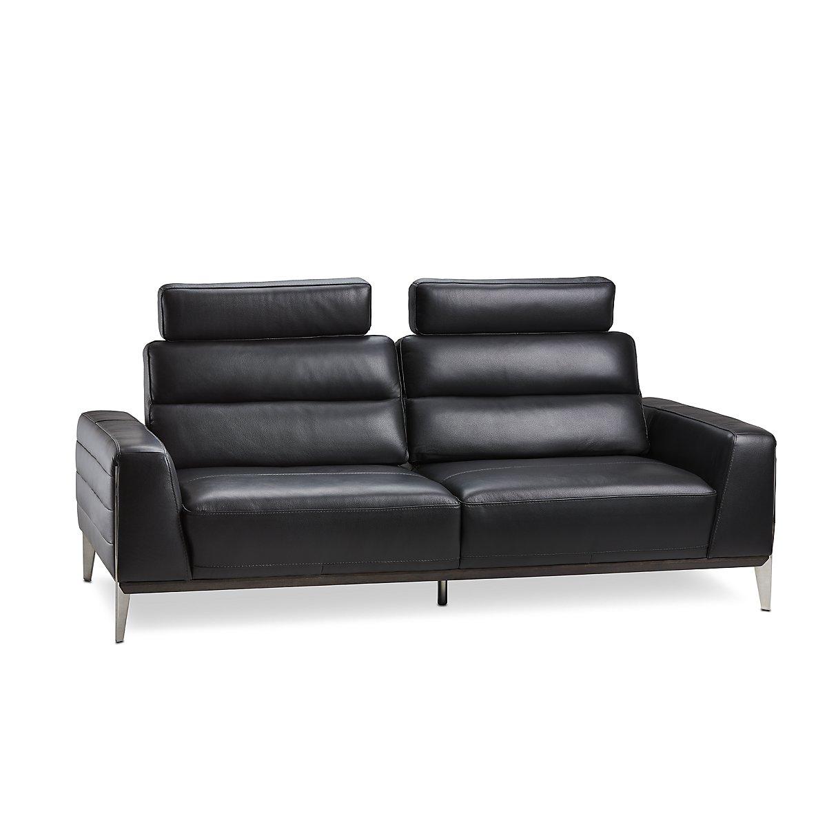 Gatlin Black Leather Power Push Back Sofa w/ Headrest | Living Room ...