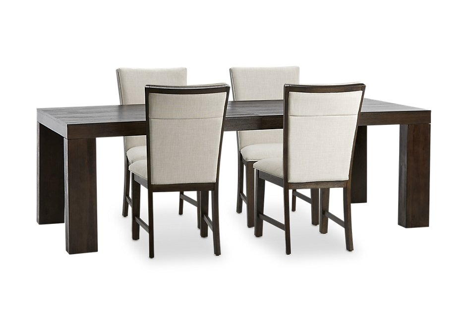 Grady DARK TONE RECT Table & 4 Upholstered Chairs | Dining ...